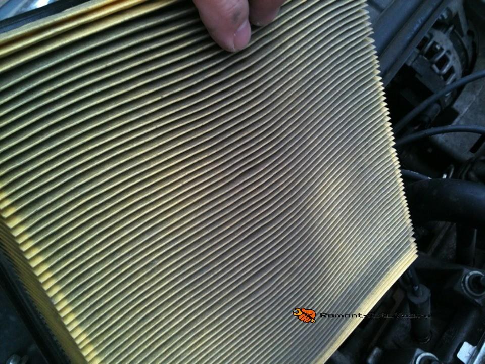 Признаки загрязнения воздушного фильтра