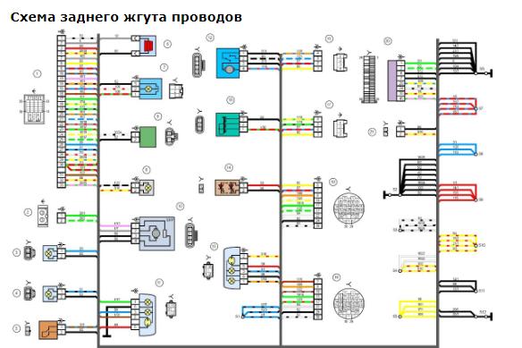 Схема заднего жгута проводов Гранта фото