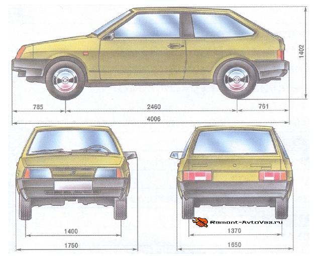 Размеры ВАЗ-2108 на картинке