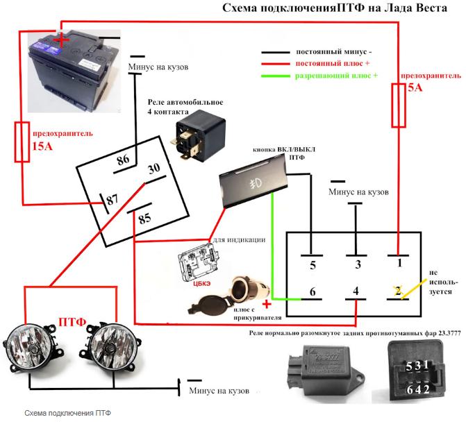 Схема подключения ПТФ на Лада Веста