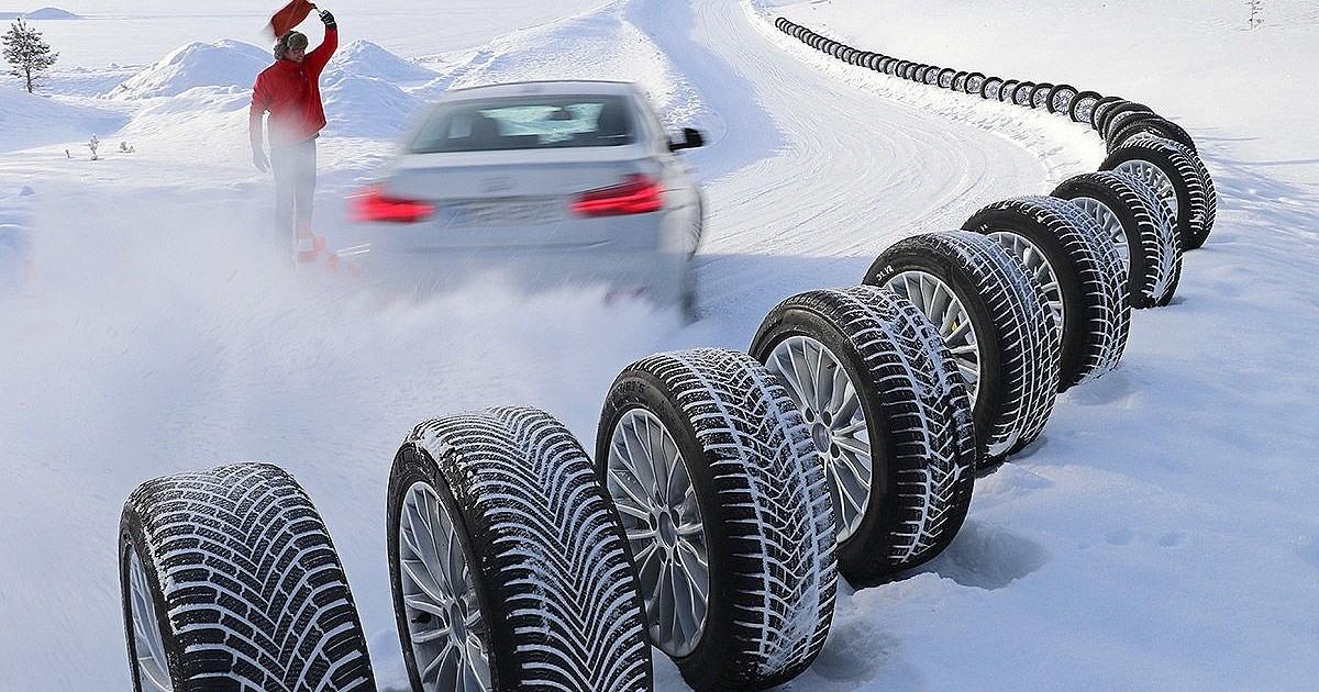 Тесты шин по снежной дороге фото