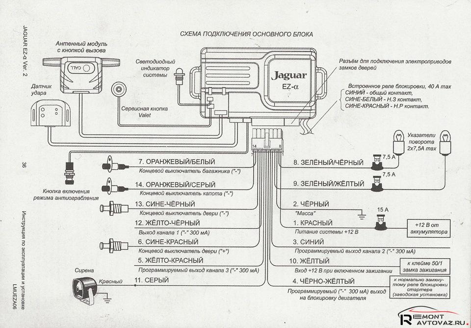 Схема подключения основного блока автосигнализаций Jaguar