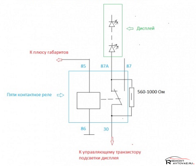 Схема подключения проводов к щитку приборов для регулировки яркости подсветки